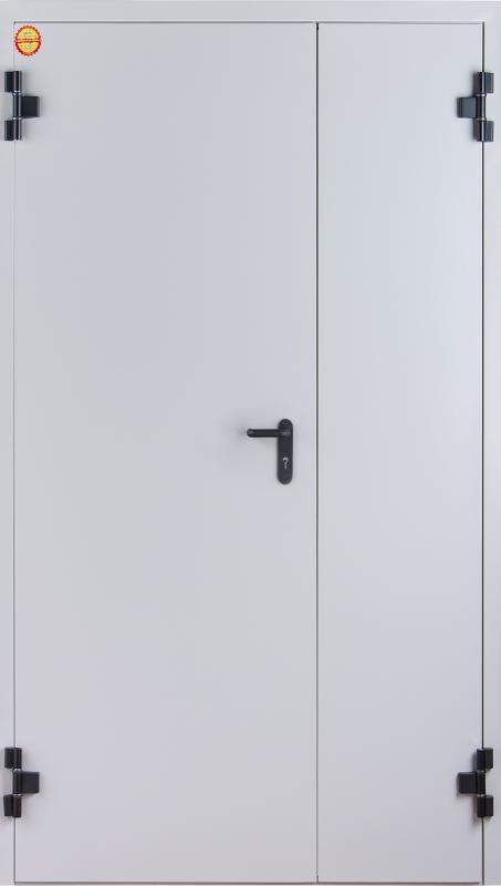 входные двери (стальные двери, металлические двери) DOORS007: дверь Противопожарные Промет EI 60 Двустворчатая  с доводчиком RAL 7035