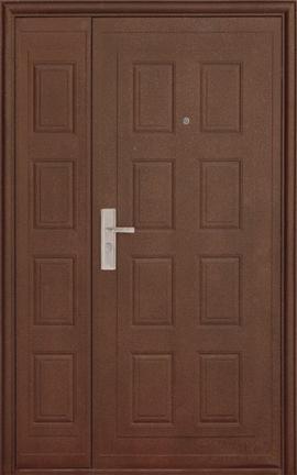 входные двери (стальные двери, металлические двери) DOORS007: дверь Эконом D101 (66мм, 1 замок, ширина: 1200мм)