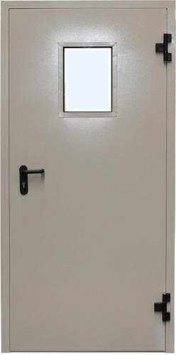 входные двери (стальные двери, металлические двери) DOORS007: дверь Противопожарные Промет EI 60 Одностворчатая с остеклением и доводчиком RAL 7038