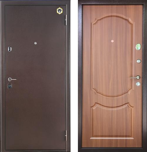входные двери (стальные двери, металлические двери) DOORS007: дверь Бульдорс 14 (рисунок Б1, Орех лесной)