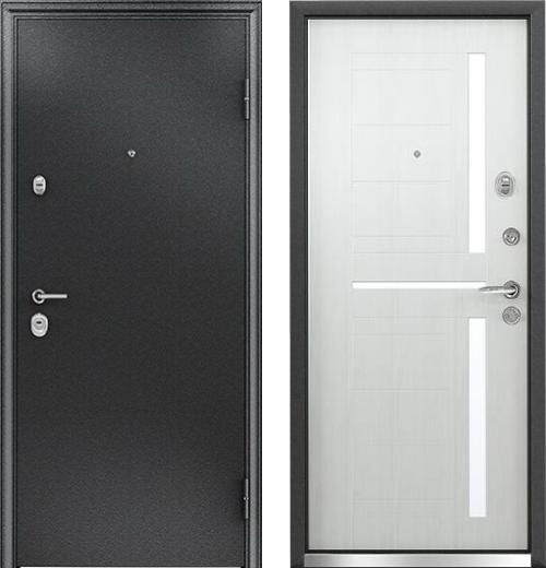 входные двери (стальные двери, металлические двери) DOORS007: дверь Бульдорс 24 Е-2 Черный шелк / Беленый дуб