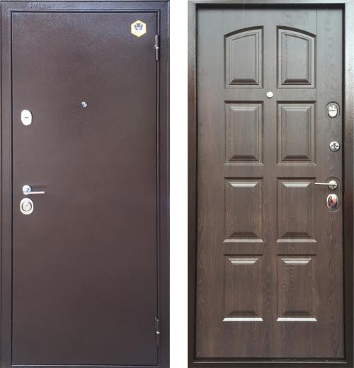 входные двери (стальные двери, металлические двери) DOORS007: дверь Бульдорс 24 (панель F3, Дуб шоколад, 16мм)