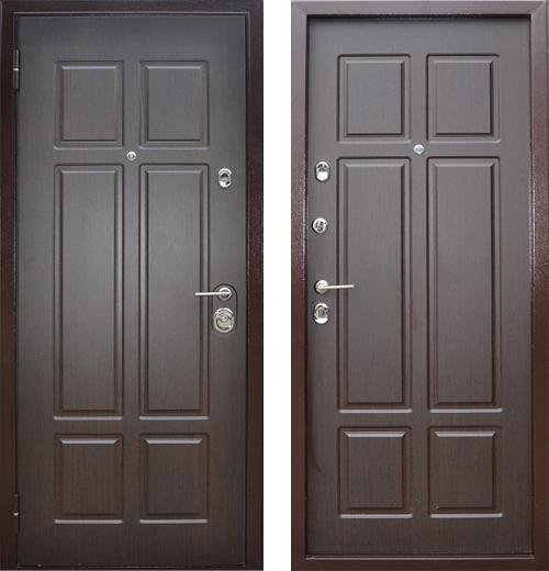 входные двери (стальные двери, металлические двери) DOORS007: дверь Бульдорс 15 (рисунок B6, Венге)
