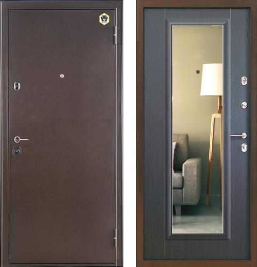 входные двери (стальные двери, металлические двери) DOORS007: дверь Бульдорс 14T с зеркалом, Цвет