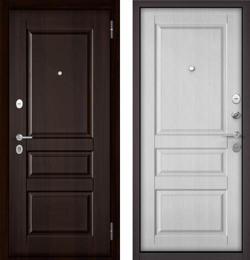 входные двери (стальные двери, металлические двери) DOORS007: дверь Бульдорс МАSS-70  Орех темный MD-2 / Ларче Белый  MD-2