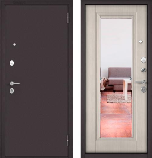 входные двери (стальные двери, металлические двери) DOORS007: дверь Бульдорс MASS 70  Букле шоколад / Ларче бьянко СК-3 с зеркалом