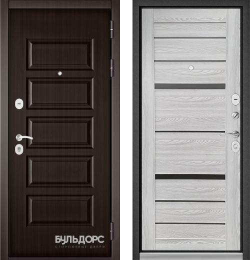 входные двери (стальные двери, металлические двери) DOORS007: дверь Бульдорс MASS 90 Ларче шоколад 9S-108 / Ясень ривьера айс CR-1