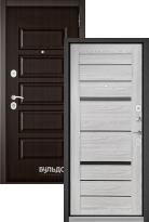 Стальная дверь Бульдорс MASS 90 Ларче шоколад 9S-108 / Ясень ривьера айс CR-1 (входная металлическая дверь)