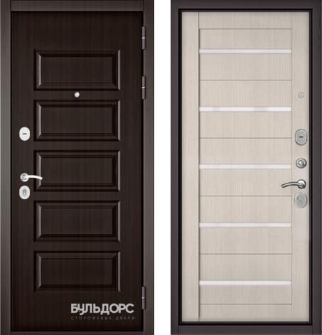 входные двери (стальные двери, металлические двери) DOORS007: дверь Бульдорс MASS 90 Ларче шоколад 9S-108 / Ларче бьянко CR-3