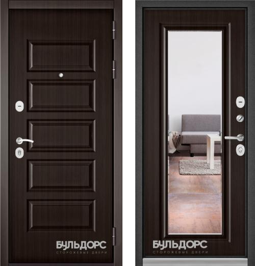 входные двери (стальные двери, металлические двери) DOORS007: дверь Бульдорс MASS 90 Ларче шоколад 9S-108 c зеркалом, Цвет