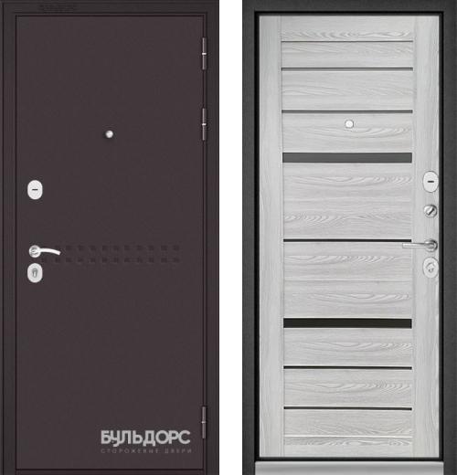 входные двери (стальные двери, металлические двери) DOORS007: дверь Бульдорс MASS 90 Букле шоколад R-4 / Ясень ривьера Айс CR-1