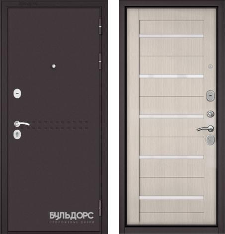 входные двери (стальные двери, металлические двери) DOORS007: дверь Бульдорс MASS 90 Букле шоколад R-4 / Ларче бьянко CR-3