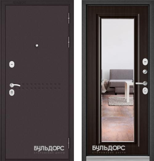 входные двери (стальные двери, металлические двери) DOORS007: дверь Бульдорс MASS 90 Букле шоколад R-4 c зеркалом, Цвет
