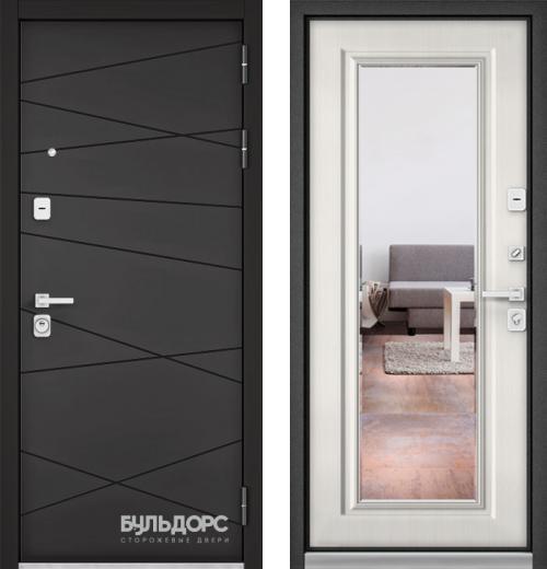 входные двери (стальные двери, металлические двери) DOORS007: дверь Бульдорс PREMIUM 90 Графит софт 9Р-130 с зеркалом, Цвет