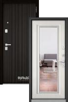 Стальная дверь Бульдорс PREMIUM 90 Ларче темный 9Р-131 с зеркалом