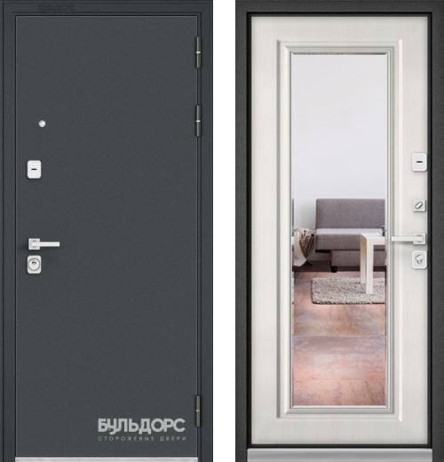 входные двери (стальные двери, металлические двери) DOORS007: дверь Бульдорс PREMIUM 90 Чёрный шелк c зеркалом, Цвет