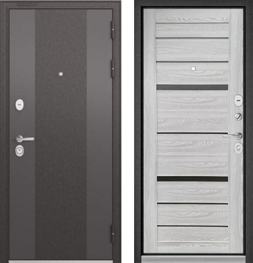 входные двери (стальные двери, металлические двери) DOORS007: дверь Бульдорс STANDART 90 Чёрный шелк 9К-4  / Ясень ривьера Айс CR-1