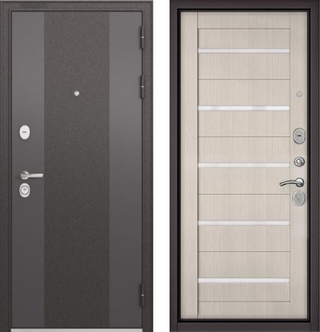 входные двери (стальные двери, металлические двери) DOORS007: дверь Бульдорс STANDART 90 Чёрный шелк 9К-4  / Ларче бьянко CR-3