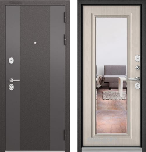 входные двери (стальные двери, металлические двери) DOORS007: дверь Бульдорс STANDART 90 Чёрный шелк 9К-4 c зеркалом, Цвет