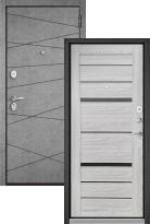 Стальная дверь Бульдорс STANDART 90 Штукатурка серая 9S-130 / Ясень ривьера Айс CR-1 (входная металлическая дверь)