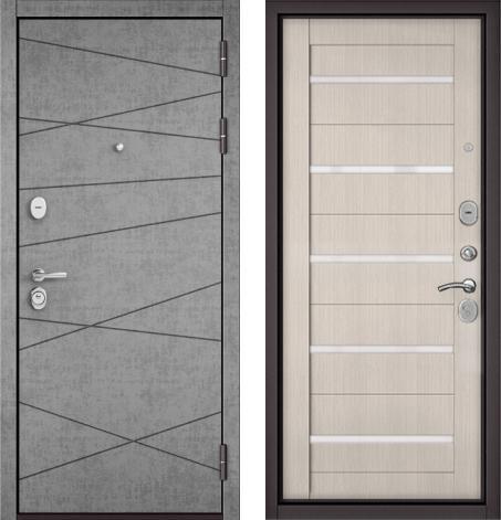 входные двери (стальные двери, металлические двери) DOORS007: дверь Бульдорс STANDART 90 Штукатурка серая 9S-130 / Ларче бьянко CR-3