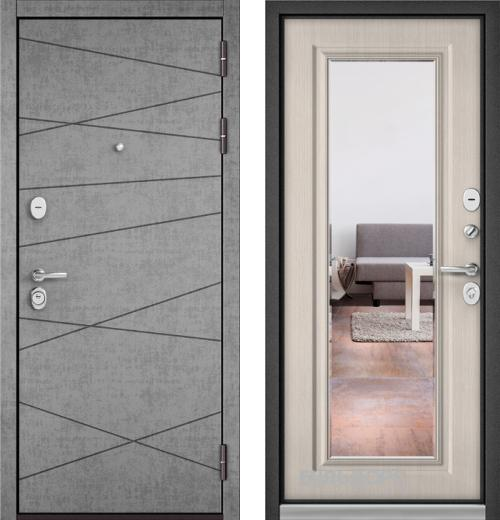 входные двери (стальные двери, металлические двери) DOORS007: дверь Бульдорс STANDART 90 Штукатурка серая 9S-130 с зеркалом, Цвет