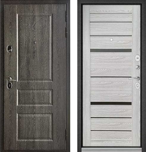 входные двери (стальные двери, металлические двери) DOORS007: дверь Бульдорс STANDART 90 Дуб графит 9SD-2 / Ясень ривьера Айс CR-1