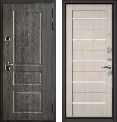входные двери (стальные двери, металлические двери) DOORS007: дверь Бульдорс STANDART 90 Дуб графит 9SD-2 / Ларче бьянко CR-3