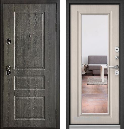 входные двери (стальные двери, металлические двери) DOORS007: дверь Бульдорс STANDART 90 Дуб графит 9SD-2 с зеркалом, Цвет