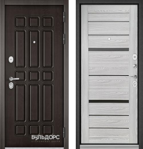 входные двери (стальные двери, металлические двери) DOORS007: дверь Бульдорс STANDART 90 Дуб шоколад 9S-111 / Ясень ривьера Айс CR-1