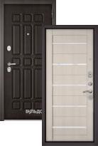 Стальная дверь Бульдорс STANDART 90 Дуб шоколад 9S-111 / Ларче бьянко CR-3 (входная металлическая дверь)