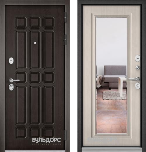 входные двери (стальные двери, металлические двери) DOORS007: дверь Бульдорс STANDART 90 Дуб шоколад 9S-111 с зеркалом, Цвет