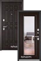 Стальная дверь Бульдорс STANDART 90 Дуб шоколад 9S-111 с зеркалом