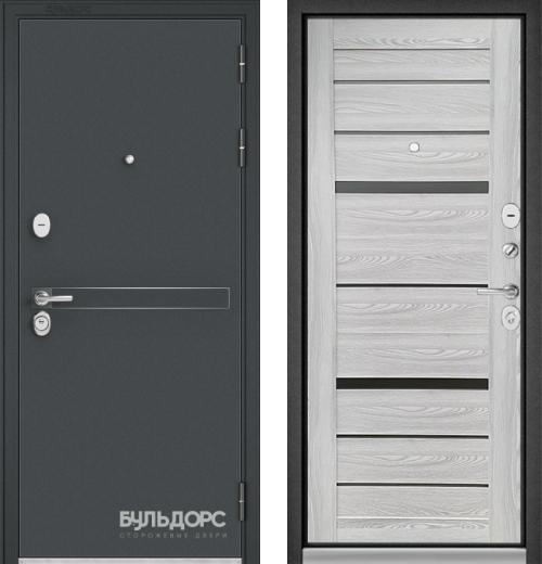 входные двери (стальные двери, металлические двери) DOORS007: дверь Бульдорс STANDART 90 Чёрный шелк D-4 / Ясень ривьера Айс CR-1