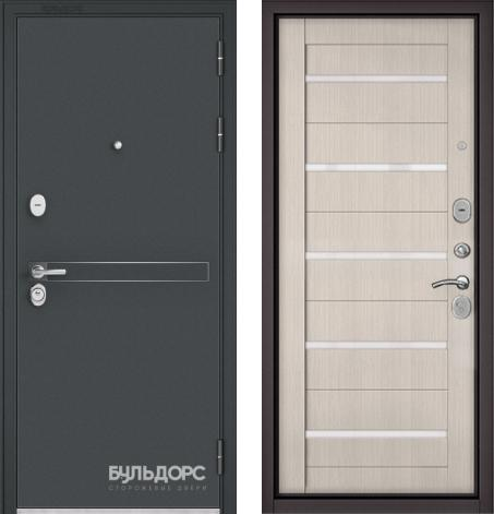 входные двери (стальные двери, металлические двери) DOORS007: дверь Бульдорс STANDART 90 Чёрный шелк D-4 / Ларче бьянко CR-3