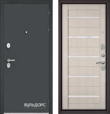 входные двери (стальные двери, металлические двери) DOORS007: дверь Бульдорс STANDART 90 Чёрный шелк / Ларче бьянко CR-3