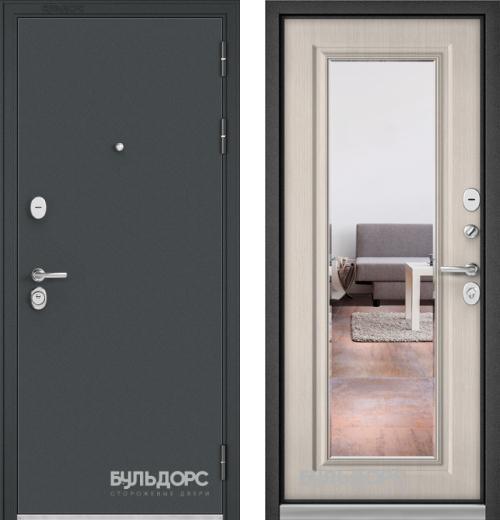 входные двери (стальные двери, металлические двери) DOORS007: дверь Бульдорс STANDART 90 Чёрный шелк c зеркалом, Цвет