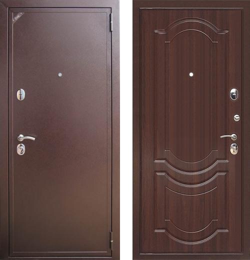 входные двери (стальные двери, металлические двери) DOORS007: дверь Zetta Евро 2 Б2 ГРАЦИЯ Орех темный