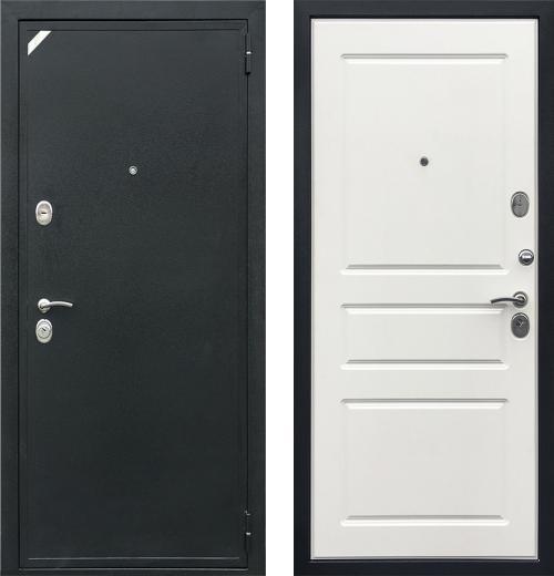 входные двери (стальные двери, металлические двери) DOORS007: дверь Zetta Евро 2 Б2 СИСТЕМА (Антик черный / Белая эмаль)