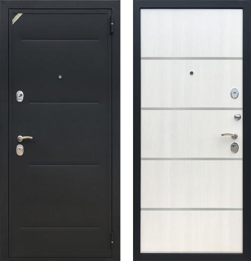входные двери (стальные двери, металлические двери) DOORS007: дверь Zetta Евро 2 Б2 СОНАТА (Черный муар / Лиственница бежевая)