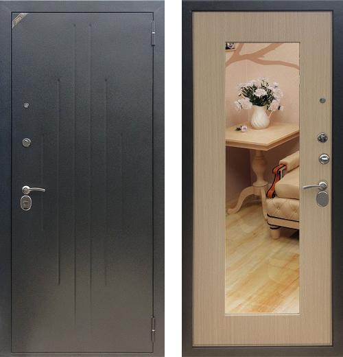 входные двери (стальные двери, металлические двери) DOORS007: дверь Zetta Комфорт 2 Д1, СОХО/ Венге белёный с зеркалом