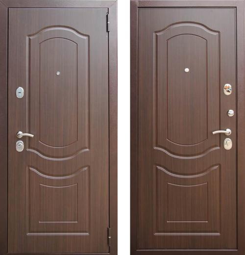 входные двери (стальные двери, металлические двери) DOORS007: дверь Zetta Комфорт 3 Д1, ВЕНЕЦИЯ Орех темный