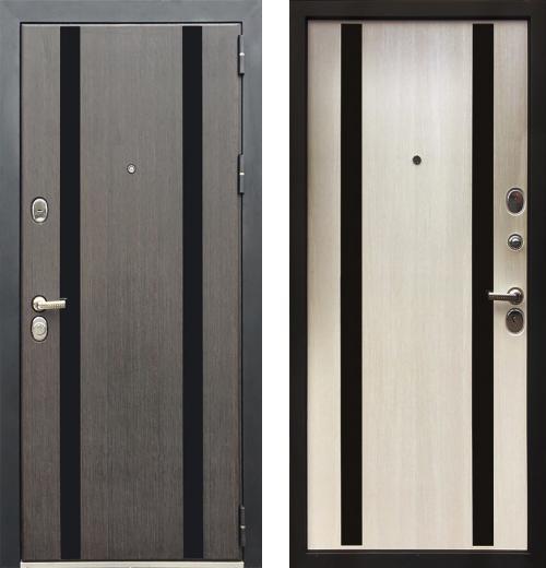 входные двери (стальные двери, металлические двери) DOORS007: дверь Zetta Премьер 100 K2 МЕТРО Сатин венге / Лиственница бежевая