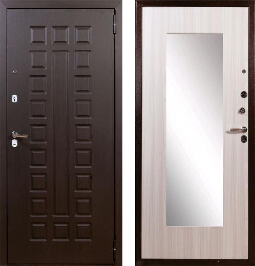 входные двери (стальные двери, металлические двери) DOORS007: дверь Лекс Гладиатор НЕО 2К Зеркало Сандал белый