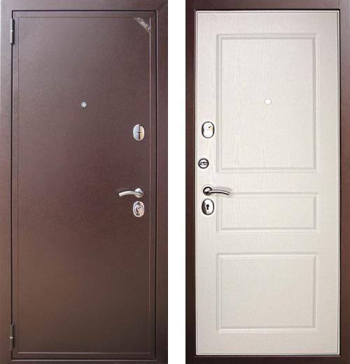 входные двери (стальные двери, металлические двери) DOORS007: дверь Распродажа Евро 2 Б2 СИСТЕМА (Антик медный / Белая эмаль) (88 L)