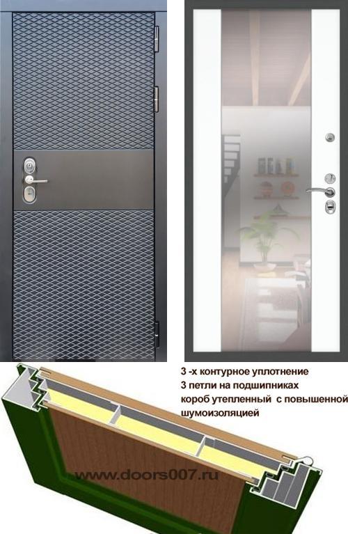 входные двери (стальные двери, металлические двери) DOORS007: дверь Сенатор Black CISA СБ-16 с зеркалом, Цвет