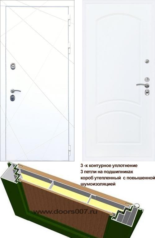 входные двери (стальные двери, металлические двери) DOORS007: дверь Сенатор Престиж 3К CISA ФЛ-291 Белая ФЛ-126, Цвет