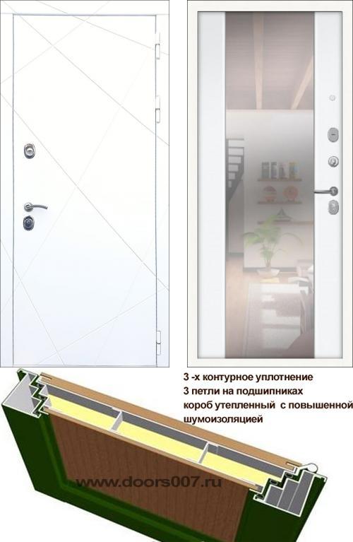 входные двери (стальные двери, металлические двери) DOORS007: дверь Сенатор Престиж 3К CISA ФЛ-291 Белая с зеркалом СБ-16