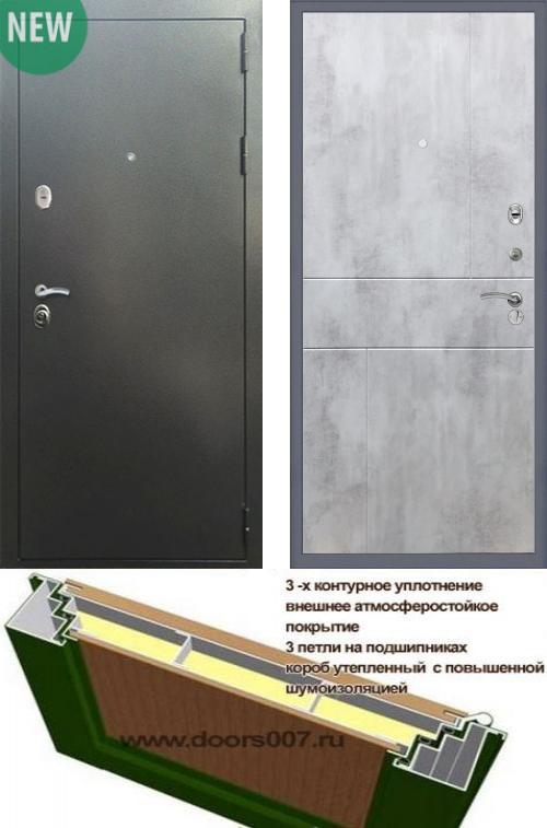 входные двери (стальные двери, металлические двери) DOORS007: дверь Сенатор Практик 3К Антик серебро / ФЛ-290