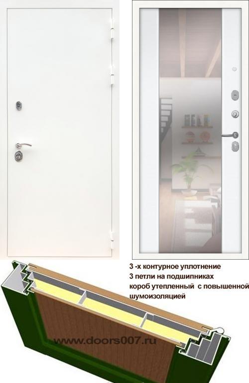 входные двери (стальные двери, металлические двери) DOORS007: дверь Сенатор Практик 3К Белый СБ-16 с зеркалом